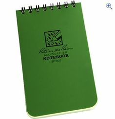 Very handy 'Rite in the Rain' pocket notebook. http://www.pricerunner.co.uk/pli/72-545968757/Toys/Rite-In-The-Rain-Pocket-Notebook-(3-x-5-)-Colour-Green-Compare-Prices