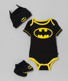 Ambrosia - i think Chris needs this. Black & Yellow Batman Booties Set - Infant