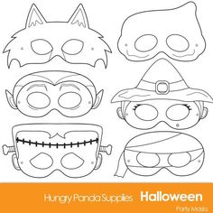 Halloween Masks, printable halloween costume, halloween printable, monster masks: