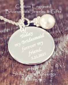 Custom Engraved Bridesmaid Jewelry & Bridesmaid Gifts #BridesmaidJewelry