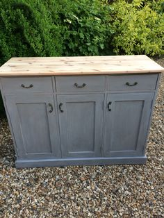 Pine sideboard painted in French linen chalk paint , finished with Annies' new white wax
