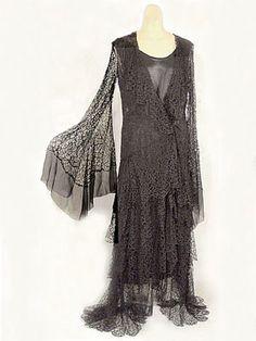 "Silk lace/satin evening dress, c.1930. Label: ""Jessie Franklin Turner/200 Park Avenue/New York."""