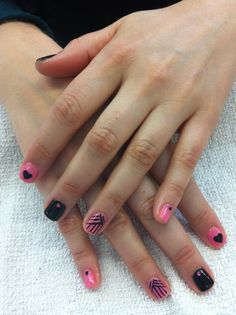 Pink and black designed manicure