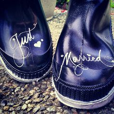 JUST MARRIED Choose your Own Design Rain Boots.  Wedding Boots. Bride Wellies black and silver boots. I Do.. $45.00, via Etsy.