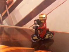 ironman with camera on lego vespa
