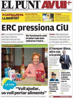 Los Titulares y Portadas de Noticias Destacadas Españolas del 6 de Junio de 2013 del Diario El Punt Avui ¿Que le parecio esta Portada de este Diario Español?