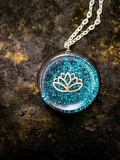 Teal Orgonite Lotus Necklace  Free Shipping In by FountainOfSpirit