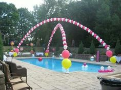 Awesome. Attach balloons filled with helium on fishing line and tie to each corner of pool