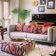 Make your Living room all the more beautiful, cozy, relaxing & boho chic with a bohemian decor. Here are the best Bohemian living room decor ideas for Living Room Pillows, Pillow Room, Boho Living Room, Home And Living, Living Room Decor, Bedroom Decor, Boho Room, Couch Pillows, Gray Couch Living Room