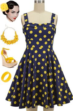 Brand new in store at Le Bomb Shop! Our best selling silhouette in a new color combo.. NAVY with YELLOW POLKA DOTS! Find these adorable dresses here for only $42 with FREE U.S. s/h at Le Bomb Shop: http://lebombshop.net/products/fold-over-bust-sun-dress-navy-yellow-polka-dot