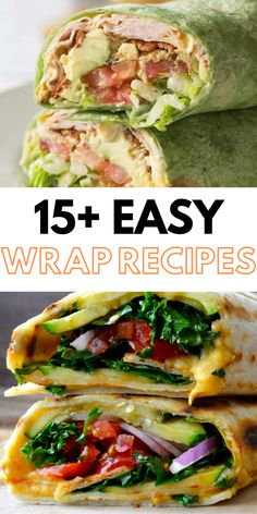 Healthy Wrap Recipes, perfect for an easy lunch! Healthy Wrap Recipes, perfect for an easy lunch! These easy and healthy wraps are perfect for busy weeknights or great for a quick lunch idea! Healthy Wraps, Quick Healthy Meals, Healthy Breakfast Recipes, Healthy Desserts, Healthy Chicken, Healthy Food, Veggie Wraps, Healthy Lunches, Veggie Food