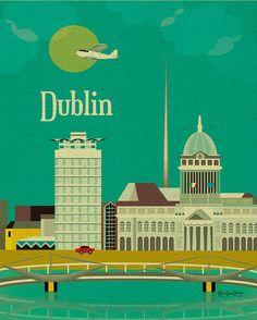 Dublin, Ireland Wall Art - European Travel Destination Poster - Prints for Office, Home, and Nursery Room E8-O-DUB via Etsy