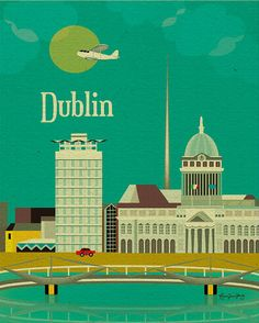 Dublin, Ireland Wall Art - European Travel Destination Poster - Prints for Office, Home, and Nursery Room E8-O-DUB via Etsy
