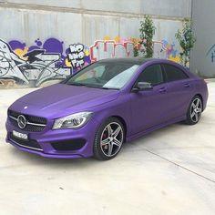 Mercedes CLA250 with a matte metallic purple wrap. Brilliant work by @ultimatecarwraps (Mitcham VIC Australia) #MakeitStick #PaintisDead