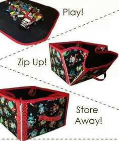 Zippered sides, use for storage or placemat or make a cube for shelf.