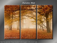 Framed Huge 3 Panel Art Foggy Mist Autumn Tree Giclee Canvas Print - Ready to Hang