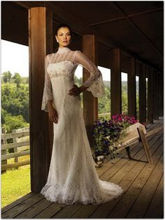wedding dress with sleeves  beautiful for  2nd time around