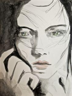 """Saatchi Online Artist: Sonja De Graaf; Watercolor 2013 Painting """"Untitled (Girl)"""""""