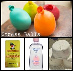 ~* Stress Balls *~ 2 Cup flour or rice or sand? Crafts To Do, Easy Crafts, Crafts For Kids, Arts And Crafts, Slime, Market Day Ideas, Balle Anti Stress, Baby Oil, Craft Activities