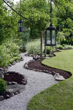 38 DIY Garden Paths and Walkways Ideas for Backyard – Garden Paths Gravel Walkway, Gravel Landscaping, Landscaping With Rocks, Front Yard Landscaping, Landscaping Ideas, Pea Gravel, Backyard Ideas, Walkway Garden, Front Walkway