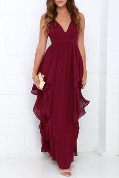 Burgundy V Neck Backless Chiffon Party Dress