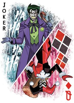 Joker n Harley Joker And Harley Tattoo, Joker Card Tattoo, Harley Quinn Et Le Joker, Harley And Joker Love, Harley Tattoos, Harley Quinn Drawing, Joker Comic, Joker Art, Funny Joker