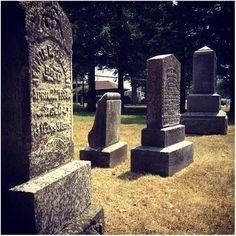 Headstones in Oshawa's Harbour Pioneer Cemetery