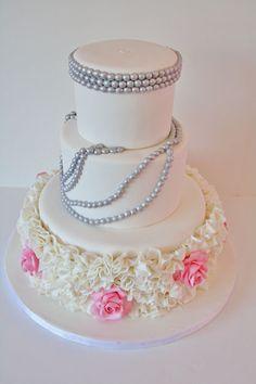 Bridal Shower Cakes NJ - Roses and Ruffles Custom Cake