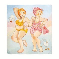 Billedresultat for birgitta lindeblad Illustrations, Illustration Art, Old Lady Humor, Plus Size Art, Chubby Ladies, Art Impressions, Whimsical Art, Beach Art, Cute Art