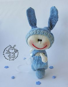 Knitted Pebble doll blue Bunny