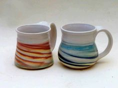 Porcelain Cups inlaid colored clays clear glaze