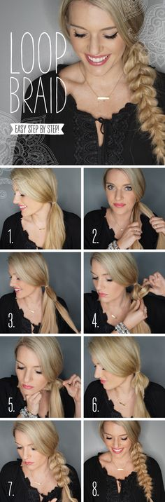 Loop braid tutorial pictorial by Morgan Bullard. Loop braid tutorial pictorial by Morgan Bullard. Work Hairstyles, Pretty Hairstyles, Easy Braided Hairstyles, Long Hair Cuts, Long Hair Styles, Relaxed Hair, Up Girl, Hair Dos, Hair Hacks