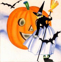 PRETTY Witch Art Deco Halloween Flapper. by DandDDigitalDelights