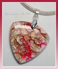 Polymer Clay Asian Raspberry/Pearl Pendant, this pendant appears in the winter 2012 issue of The Polymer Arts magazine