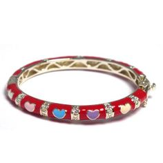 Red Multi Color Enamel Hearts 18k Yellow Gold Plated Baby Toddler Kids Girls Bangle Bracelet 42 mm Kids Jewelry USA. $23.95. 18k Yellow Gold Plated. Red and Multi Color Enamel. Free Jewelry Pouch Included. 42mm Diameter