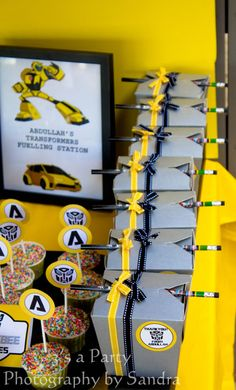 bumblebee transformers birthday gift boxes!  love!