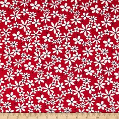 T-Shirt Jersey Knit Floral Red/White from @fabricdotcom  This jersey knit fabric is perfect for creating children's apparel, tops and T-shirts. It features 15% stretch across the grain.
