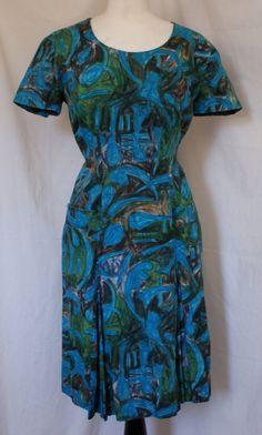 Vintage 1950s atomic print blue cotton wiggle dress by OuterLimitz, £35.00