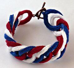 Irish Crochet Bracelet Fiber Bracelet  Chainmail Patriotic Red White Blue... 40.00, via Etsy.