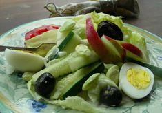 Salad With Hard Boiled Egg Recipe - Genius Kitchen Hard Boiled Egg Recipes, Lemon Oil, Fresh Rolls, Summer Fair, Celery, Cucumber, Eggs, Vegetarian, Salad