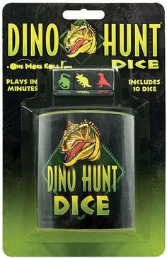Game description from the publisher: How many dinosaurs can you catch? Roll the Dino Hunt Dice and see! In this quick game for parents and kids, you're capturing dinosaurs for your zoo. Roll the dinosaur picture, and you caught him! If you get the leaf picture, the dino is hiding, and you can try again. If you get a footprint . . . you're STOMPED! Push your luck to catch as many as you can, but stop rolling before you're stomped three times or else you'll lose them all. Din...