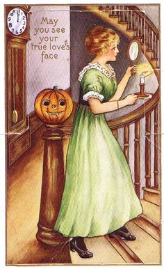 #Vintage #Halloween #Postcard-- If you look in the mirror at Halloween midnight by candlelight, you will see the face of your future true love.