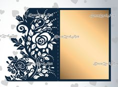 5x7'' Roses Wedding Invitation Card laser Cut Template