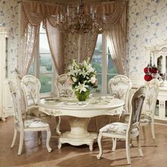 Antique French Provincial Off White Dining Room Set Furniture BJH ...