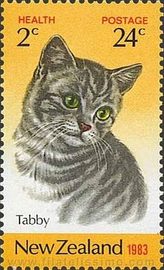 """Tabby"" cat postage stamp ~ New Zealand, 1983 Postage Stamp Art, Going Postal, Here Kitty Kitty, Stamp Collecting, Mail Art, My Stamp, Crazy Cat Lady, New Zealand, Lettering"
