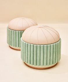 Charlotte   Design   Cristina Celestino. Lovely stool with ribbed velvet sides
