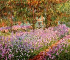 """Irises in Monet s Garden""  - Irises in Monet s Garden, Claude Monet 1900, oil on canvas 81 x 92 cm, Musee d Orsay, Paris France. This painting features Monet s garden in Giverny."