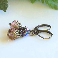 Pink Czech Glass Crystals Brass Earrings Victorian Earrings Renaissance Earrings Swarovski Crystals by Ctbydonna on Etsy