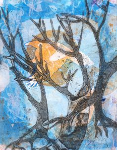 Raven Art, Tree Art, Original Abstract Art, Monoprint, Landscape Art on Etsy, $29.50