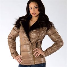 """""""Trininty"""" jacket.  Asymmetrical nylon puffer with faux fur trim.  Stay warm and sexy in the body flattering silhouette. #fashion #style #clothes #clothing #fashionable #womensfashion #outerwear #coats #jackets #fashiongirls #sexy #beauty #leatherjacket #love #cute #beautiful #design #Vixen #VixenCollection"""